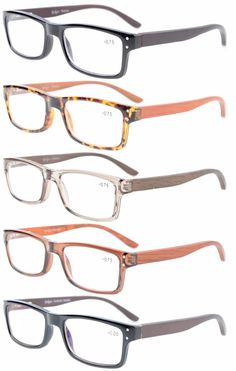 Eyekepper 5-Pack Spring Hinges Patterned Rectangular Reading Glasses Readers Women +1.75 by Eyekepper