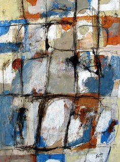 """Morning After Blues"" -  Mixed media painting on paper by Scott Bergey 12x9 www.scottbergey.com"
