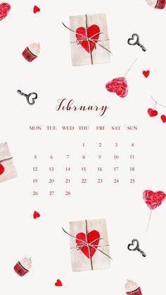 February Wallpaper, Calendar Wallpaper, Heart Wallpaper, Locked Wallpaper, Iphone Wallpaper, At A Glance Calendar, February Calendar, Diy Calendar, Calendar Pages