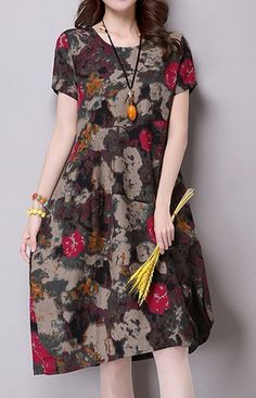 Women loose fit over plus size pocket dress retro flower tunic fashion trendy #Unbranded #dress #Casual