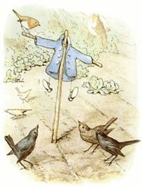 Mr. McGregor hung up the little jacket and the shoes for a scare-crow to frighten the blackbirds.