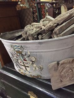 grey wash basin with Victorian transfer: available for purchase at Uncommon Market Dallas, 100 Riveredge Drive, Dallas, Texas 75207; call us @ 214-871-2775 if you would like to put this item on a 2 day HOLD.