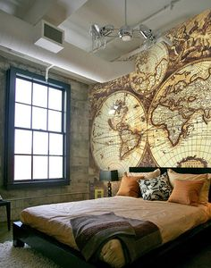 Wall mural Stara mapa Large scale wall murals in custom size that you can perfectly match with your interior. They look amazing on the walls of your home, flat, office or any other surface which you like to make-over. Diy Bedroom Decor For Teens, Bedroom Themes, Dream Bedroom, Home Bedroom, Loft Interior, Interior Design, New Room, Living Spaces, Sweet Home