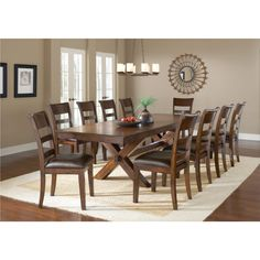 Park Avenue Dark Cherry And Vinyl 11-piece Dining Set
