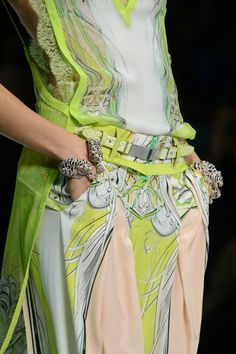Vibrant hues in this beautiful detail from the #RobertoCavalli SS 2013 runway show!