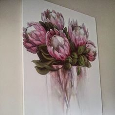 Oil & Charcoal on canvas x Protea Still Life @ Talloula Botha's Hill SOLD Pink Ice Protea. Charcoal on paper frame. Protea Art, Protea Flower, Botanical Art, Art Oil, Painting Inspiration, Art Pictures, Creative Art, Painting & Drawing, Flower Art
