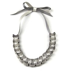 Grey and Cream Pleat and Pearl Ribbon Necklace