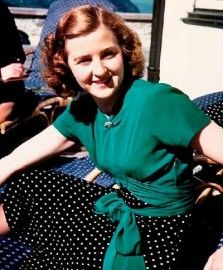 """A pensive Eva Braun, 32. Rarely seen in public with the Fuhrer, she spent her days exercising, reading popular novels, and worrying about her looks. After the failed plot to kill Hitler, she wrote him: """"From our first meeting I swore to follow you anywhere - even unto death - I live only for your love."""""""