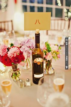 wine bottle table numbers | VIA #WEDDINGPINS.NET