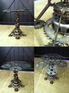 Geared-Up Designs - sprocket table! I believe this piece was made by Ava Larkin...