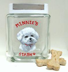 Treat Jar, Bichon Frise, Pet Painting, Dog Biscuit Decanter, Dog Food Canister, Custom Pet Portrait, Kitchen Decor, Glass Jar, Dog Food by petzoup on Etsy https://www.etsy.com/listing/121193135/treat-jar-bichon-frise-pet-painting-dog