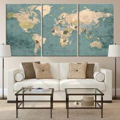 75760 - Large Wall Art Push Pin World Map Canvas Print - Extra Large W – Large Wall Push Pin World Map Canvas and Poster Prints World Map Wall Art, World Map Canvas, Big World Map, World Map Decor, Navy Blue Wall Art, Push Pin World Map, Large Canvas Prints, Canvas Art, Thing 1
