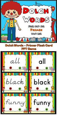 Practice fluency with these Circus Themed Dolch Words/Sight Words flash cards. Students can practice them at home (with the purchase of additional licenses). Best of all, slides will always be random, no matter what (aside from the first slide)! There's even 2 font styles to choose from: D'Nealian and Zaner-Bloser/Manucript.  Additional licenses are $0.50 so you can place them on a disc/flash drive to share with students and their families!