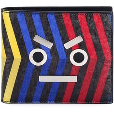 Fendi Leather Striped Face Wallet ($500) ❤ liked on Polyvore featuring men's fashion, men's bags, men's wallets, multi, mens leather bifold wallet, mens leather wallets and fendi mens wallet