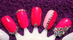 Nail art deign ideas for work - nail lab  #nailart with gems #gemnailart using #Gelish #GelishEllaOfAGirl and #GelishPopArazziPose #GelishStructureGel @gelish_official #naillab #nailtech #nailtechintraining #beautytherapist #beautytherapy #nails by ejboyle