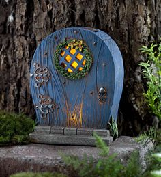 Miniature Fairy Garden Solar Door with Wreath | Miniature Fairy Gardens