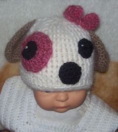 Crochet puppy hat by Cats-Rockin-Crochet Fibre Artist.