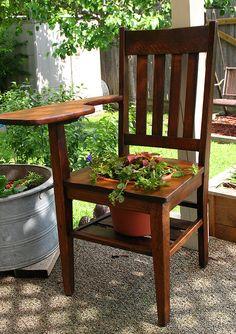 antique school desk planter