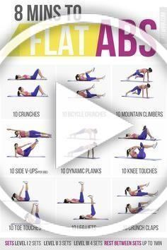 8 Minute Abs Level 1 : minute, level, Minute, Workout, Poster, Women., #AbsWorkout, #exercise, #fitness, Workout,, Women