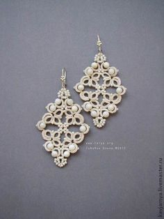 tatting earrings Would love to do this with crystal beads! Tatting Earrings, Tatting Jewelry, Lace Jewelry, Tatting Lace, Beaded Earrings, Diy Jewelry, Crochet Earrings, Handmade Jewelry, Jewelry Design