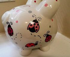 What a great gift idea! Completely customizable large ceramic piggy bank that can match any theme, room, name, etc. Message us and we will make it happen Ceramic Painting, Ladybug, Great Gifts, Piggy Banks, Christmas Ornaments, Etsy, How To Make, Crafts, Biscuit