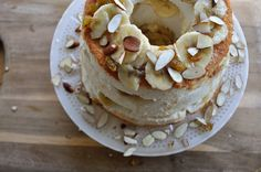 banana amaretto cake.  With coconut milk ice cream and home made angel food cake, yes please!
