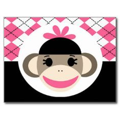 Cute Baby Girl Sock Monkey Pink Black Argyle Postcard.  Unique Postcards for Postcrossing, Scrapbooking, or just to send to a friend.
