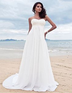 Beaded Chiffon Beach Wedding Dress :: Autumn Collection