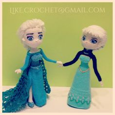 Coronation day Elsa and Ice Gown Snowqueen Elsa of Frozen Disney by LikeCrochet amigurumi design crochet dolls