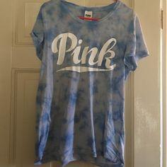 Pink Victoria's Secret light weight tee Blue tie-dye pink Victoria's Secret t-shirt. Long in length, light weight material, only worn a couple times PINK Victoria's Secret Tops Tees - Short Sleeve