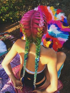 rainbow braids! collaboration of braid babes and little black diamond.