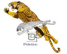 ONÇA - DETALHE - Detalhe da arte. Desenho - Ilustração - Illustration - Drawing http://arterocha.blogspot.com.br/