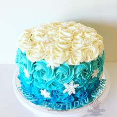 Ombré rose Frozen theme by - Cake Me Smile By Natalie