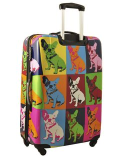 Valise 4 roues rigide 71cm Saxoline. Ok it's a Frenchie, but we Boston lovers know how close that really is.  How cute is this!!?!??!!?