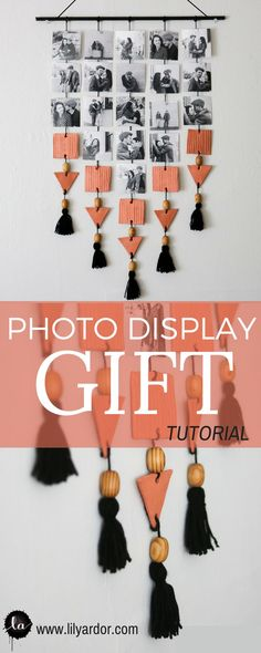 Make those memories last this chic and trendy photo display. Clay, tassels, and wooden beads. What a pretty combo.
