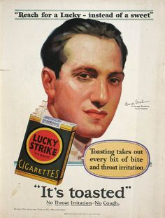 """Lucky Strike appealed to women with the slogan """"Reach for a Lucky instead of a sweet"""" and the endorsement of leading personalities from the entertainment world. This 1929 ad features the composer George Gershwin."""