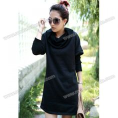 Cowl Neck Faux Twinset Long Sleeve Dresses For Women(With Belt)