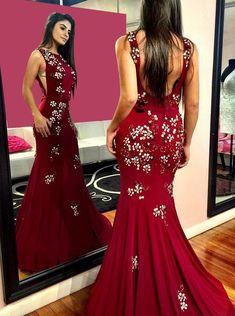 Custom Made Engrossing Burgundy Prom Dress, Long Prom Dress, Mermaid Prom Dress Backless Prom Dresses, Formal Dresses, Formal Prom, Ball Dresses, Homecoming Dresses, Mermaid Evening Dresses, Special Occasion Dresses, Sexy, Party Dress