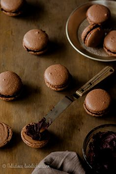 Chocolate macarons filled with dark chocolate ganche recipe   via deliciouseveryday.com