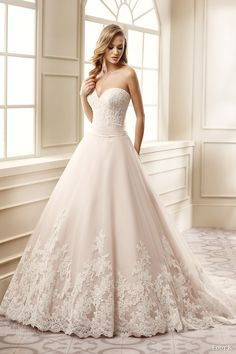 EDDY K #bridal 2016 strapless sweetheart lace bodice a line #wedding dress (ek1061) mv #romantic #classic  #weddingdress #weddinggown #bridalgown #dreamdress #engaged #inspiration #bridalinspiration #weddinginspiration #dreamgown