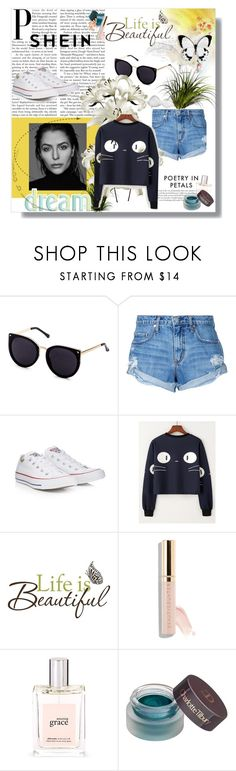 """""""shein"""" by samrajusic ❤ liked on Polyvore featuring Gabriella, Nobody Denim, Converse, Brewster Home Fashions, Beautycounter, philosophy and Charlotte Tilbury"""