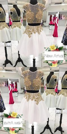 45c07de21f Nectarean 2 Piece Jewel Cap Sleeves Short White Homecoming Dress with Gold  Beading