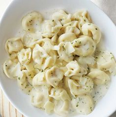 Tender tortellini pasta filled with a blend of ricotta, Swiss and romano cheeses and tossed in our simple alfredo sauce made with butter, cream, asiago and parmesan with a bit of parsley, then topped with a sprinkle of asiago-parmesan cheese. -Visit PaneraBread.com for more inspiration.