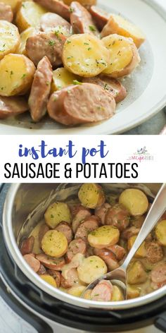 This creamy Sausage and Potatoes is a healthy meal (made with turkey sausage!), FULL of flavour and can be made in the Instant Pot or stovetop. #sausage #potatoes #dinner #instantpot #pressurecooker #instantpotrecipe #easyrecipe #recipe | Instant Pot recipe | pressure cooker recipe | easy dinner recipe | comfort food