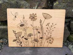 Pyrography wood burning decorative floral chopping board