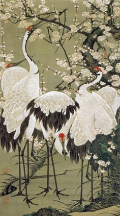 伊藤若冲 Ito Jakuchu/15 梅花群鶴図 Baika Gunkaku-zu(Plum Blossoms and Cranes)