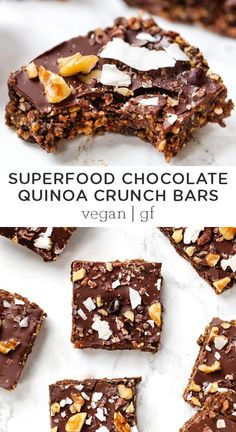 These healthy Superfood Chocolate Quinoa Crunch Bars are an awesome little snack that is packed with energizing ingredients. Easy on the go recipe perfect for a quick pre- or post-workout snack! #healthysnack #crunchbar #superfood #snackrecipes