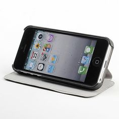 Litchi Grain PU Leather Case with Stand for iPhone 5 – USD $ 7.09