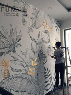Wall Painting Decor, Mural Wall Art, Wall Decor, Fabric Painting, Creative Wall Painting, Wall Paintings, Paint Designs, Diy Wall, Wall Design