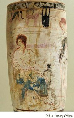 A detail shown in the attic white ground lekythos, 420 - 400 BC.